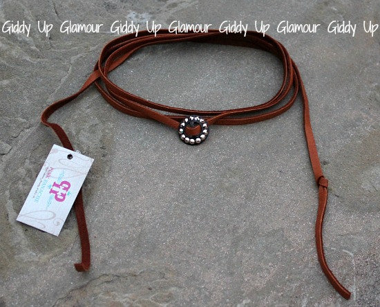 Pink Panache Long Tan Leather Wrap Necklace with Rose Gold Slider