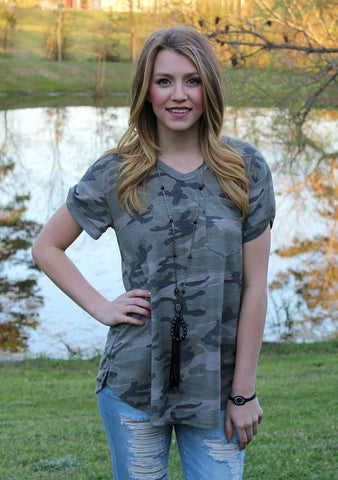 Get The Look Camouflage Short Sleeve Pocket Tee
