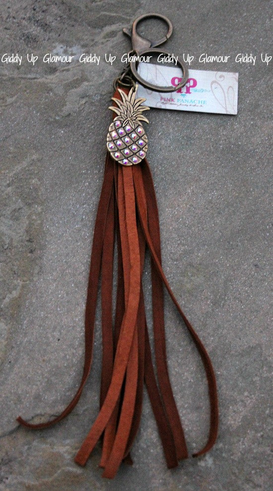 Pink Panache Tan Leather Tassel Keychain with AB Pinapple Charm