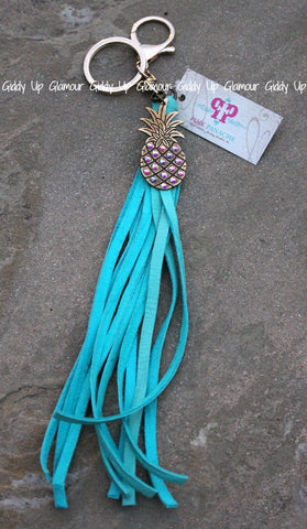 Pink Panache Turquoise Leather Tassel Keychain with AB Pinapple Charm