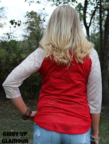 Baby It's Cold Outside Snowman Red Baseball Tee with Glitter Crochet Sleeves