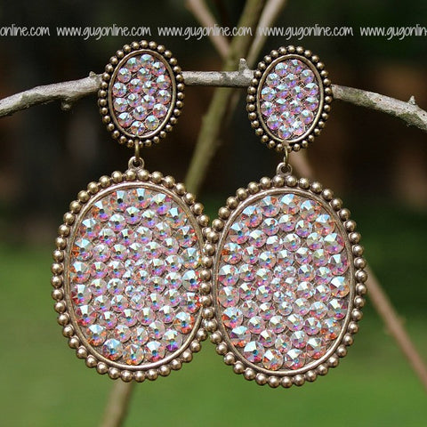 Pink Panache Large Bronze Double Oval Earrings with AB Crystals