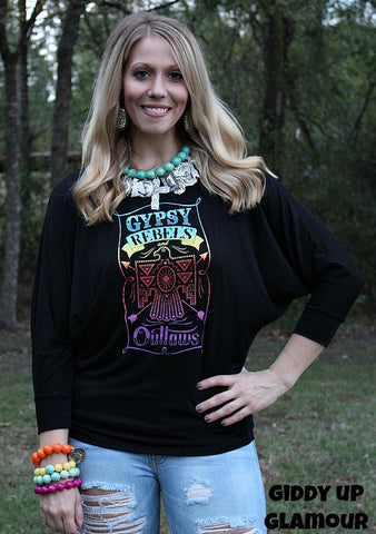 Gypsy Soule Rebels and Outlaws Rainbow Thunderbird Dolman Top