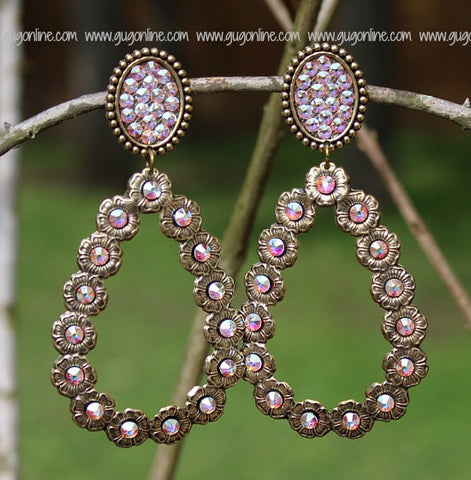 Pink Panache Bronze Oval and Teardrop Earrings with AB Stones