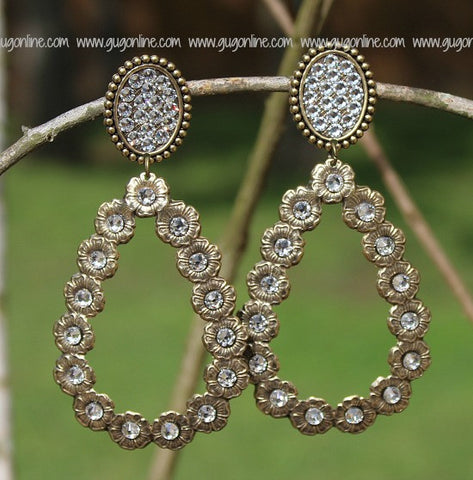 Pink Panache Bronze Oval and Teardrop Earrings with Clear Stones