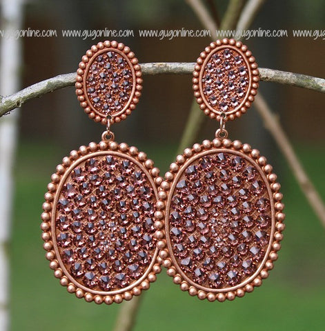 Pink Panache Large Rose Gold Double Oval Earrings with Rose Blush Crystals