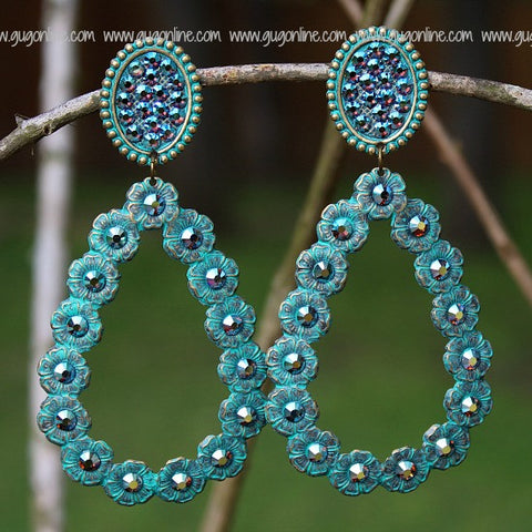Pink Panache Turquoise Oval and Teardrop Earrings with ST Crystals