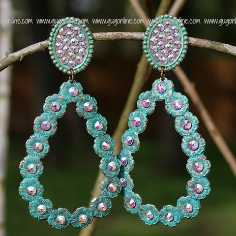 Pink Panache Turquoise Oval and Teardrop Earrings with AB Crystals