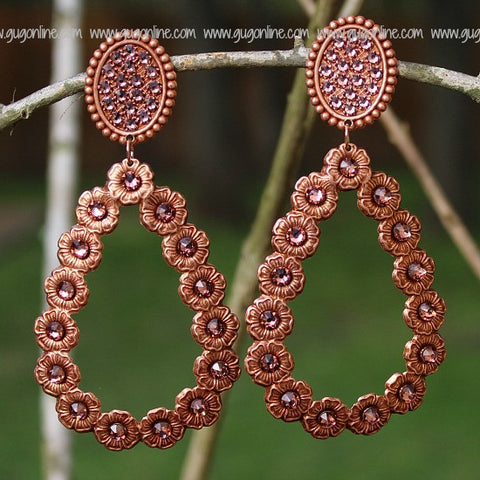 Pink Panache Rose Gold Oval and Teardrop Earrings with Rose Blush Stones