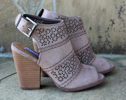 Not Rated Girl B Flossin Taupe Laser Cut Heels - Modeled Pair