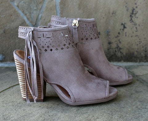 Chiara Heeled Open Toe Ankle Bootie in Cream