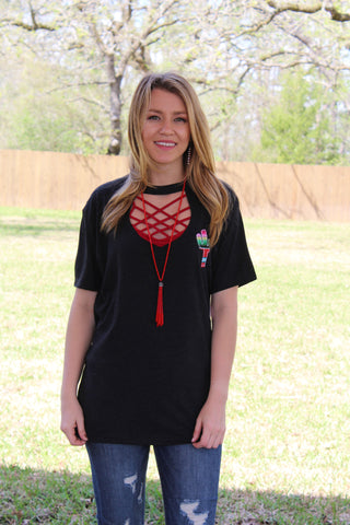 Agave Serape Cactus Short Sleeve Tee with Keyhole Cut Out in Charcoal