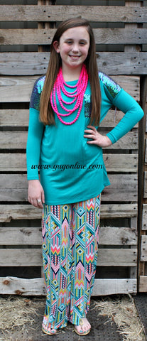 Aztec Angel Children's Palazzo Pants in Turquoise, Yellow and Neon Pink