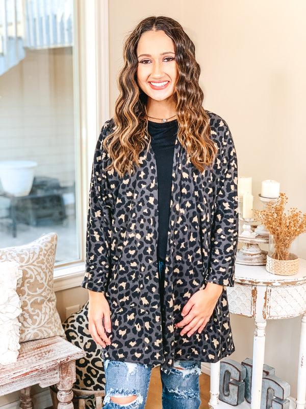 Let's Be Real Open Front 3/4 Sleeve Leopard Cardigan in Grey
