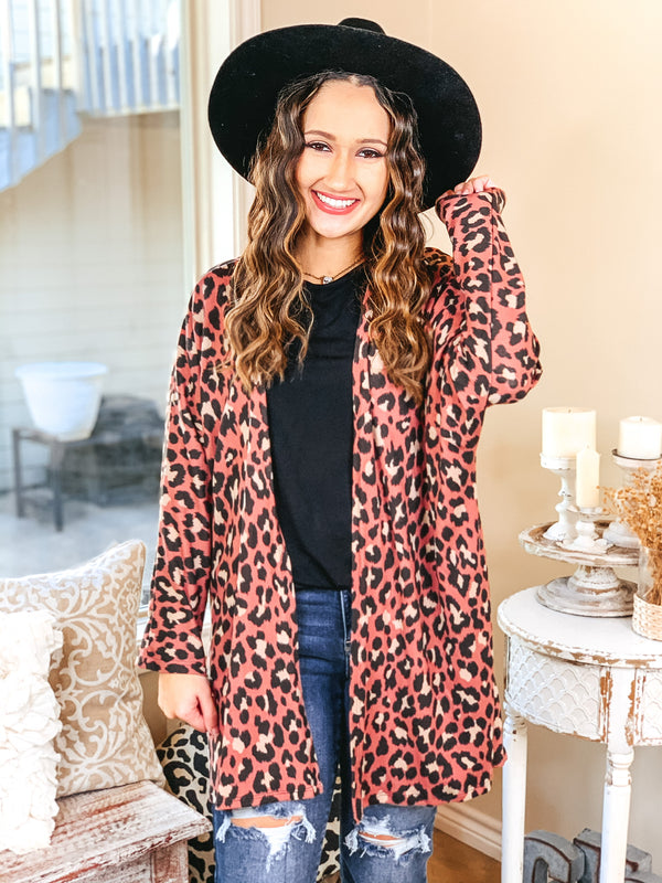 Let's Be Real Open Front 3/4 Sleeve Leopard Cardigan in Mauve