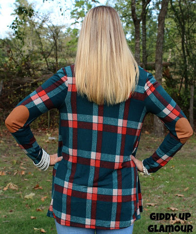 Change of Heart Teal and Orange Plaid Cardigan with Suede Elbow Patches