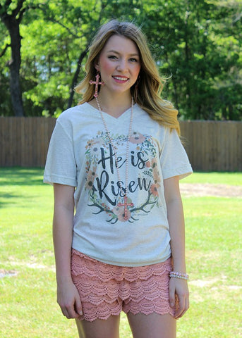 He Is Risen Floral Short Sleeve Tee Shirt