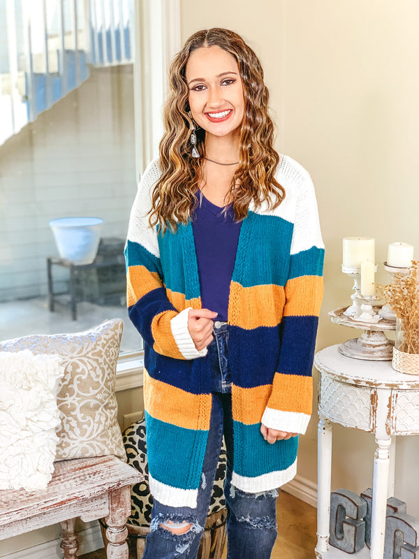 Soft Charm Striped Open Front Cardigan in Teal and Mustard