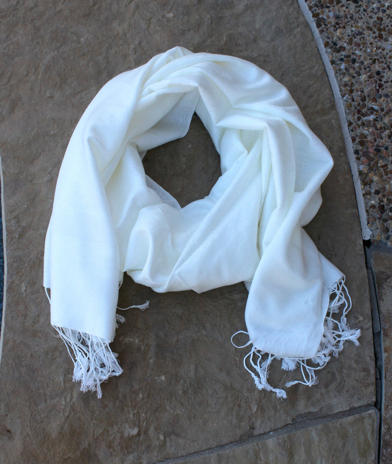Solid Ivory Pashmina Scarf