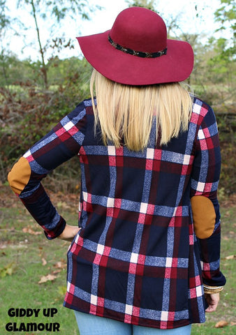 Change of Heart Navy and Burgundy Plaid Cardigan with Suede Elbow Patches