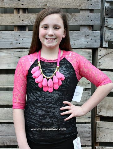 Crochet with Love Black Burnout Baseball Tee with Hot Pink Crotchet Sleeves