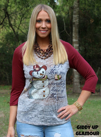 It's The Most Wonderful Time Of The Year Snowman Grey Baseball Tee with Maroon Sleeves