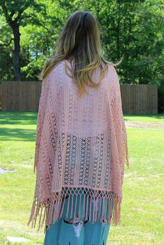 Ever After Crochet Shawl In Coral Giddy Up Glamour Boutique