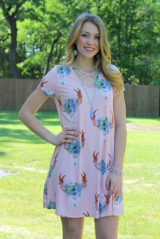 Bound to Blossom Short Sleeve Deer Dress in Light Pink