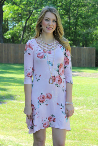 Balancing Act Blush Floral Dress with Caged Neckline