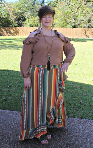 Current Obsession Serape Ruffle Skirt in Mocha