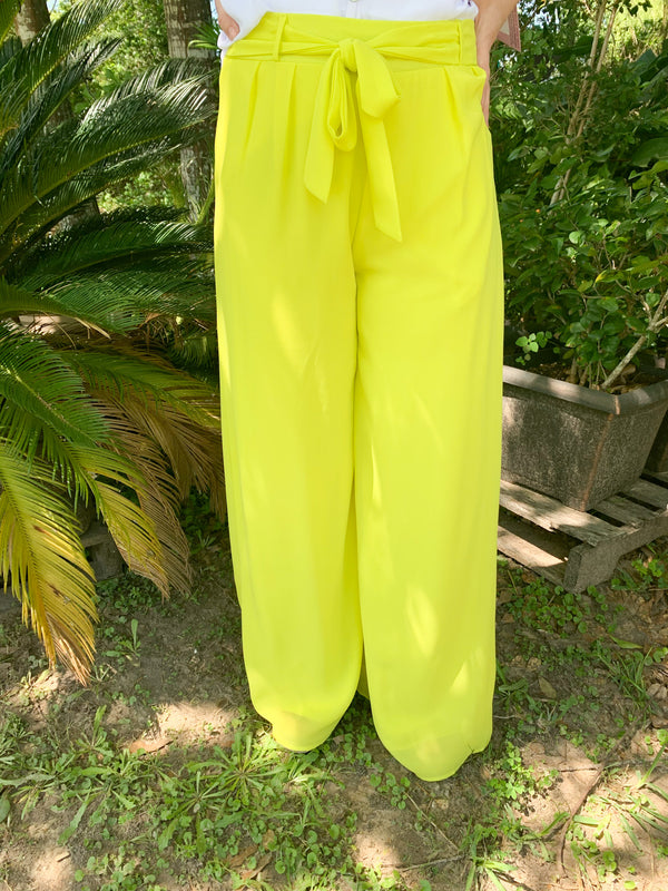 Take My Advice Wide Leg Pants in Lime Green