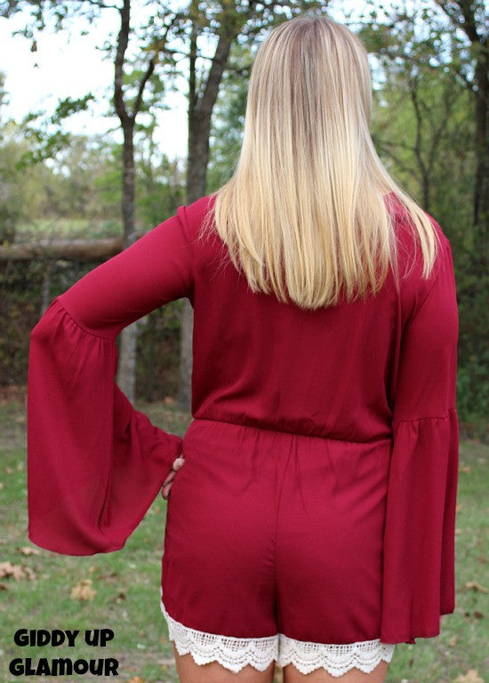 Finished Look Maroon Romper with Ivory Crochet Detailing