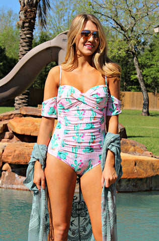 Desert Sands Gingham & Cactus One Piece Swimsuit in Pink