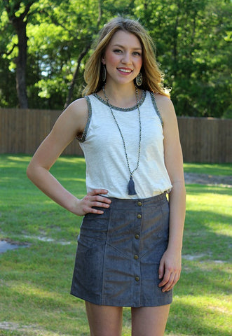Calling The Shots Suede Button Up Skirt in Grey