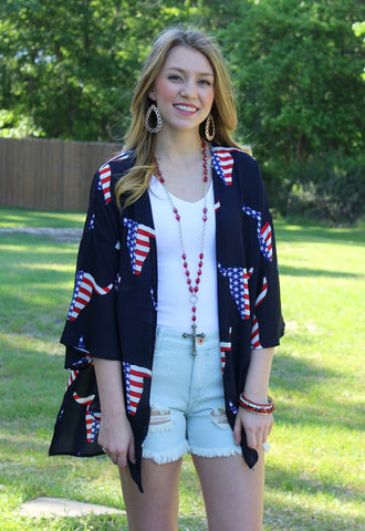 Shout Your Independence Navy Bull Head Kimono