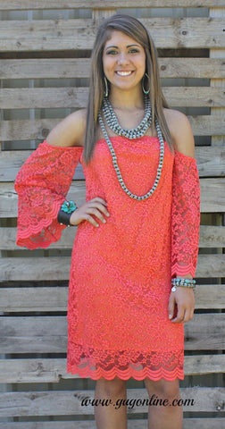 Today Was A Fairytale Lace Dress in Coral
