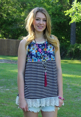 Chasing Wildflowers Floral and Stripe Tank with Lace Trim