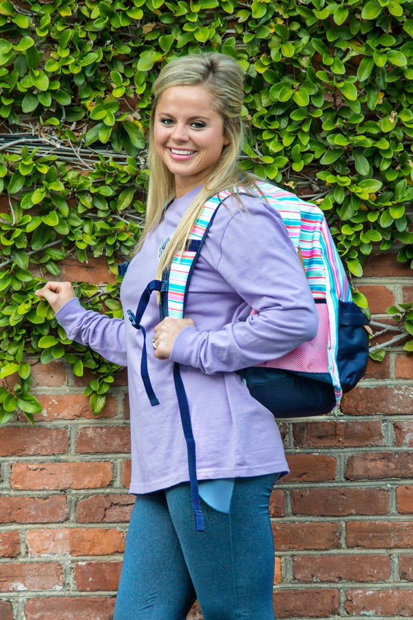 Sweet Stripes Back Pack with Navy Trim
