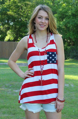 Home of the Brave Striped Tank Top with Pocket & Bow