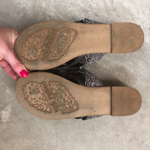 Modeled Shoes - Lace Detail Strappy Sandals in Taupe Size 7.5 - Final Sale