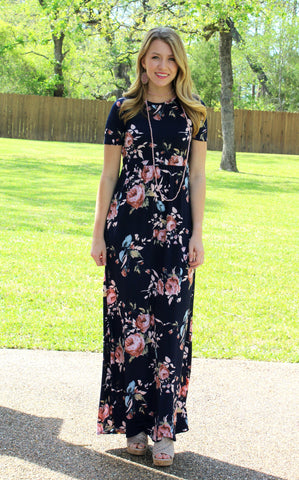 Living in the Moment Floral Maxi Dress in Navy Blue