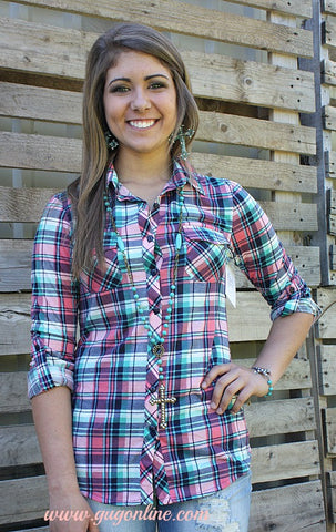 Plaid Fad Button Up Top in Pink and Mint