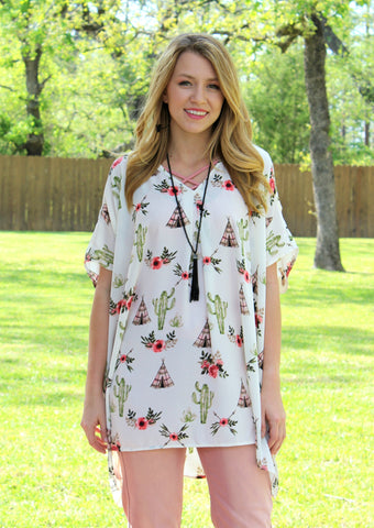 Pretty Little Thing Cactus and Tee Pee Sheer Open Shoulder Tunic in Ivory