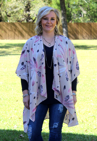 Cherokee Queen Feather Kimono in Taupe