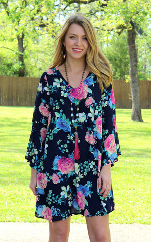 Fresh Florals Long Sleeve Dress in Navy