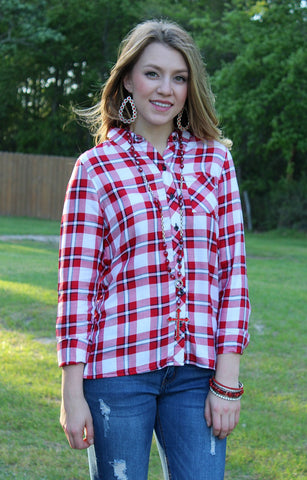 Cute as a Button Long Sleeve Button Up Shirt in Red