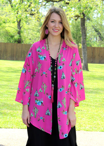 Far Out West Tee Pee and Cactus Kimono in Hot Pink