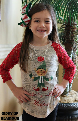 Kids Santa's Little Helper Christmas Baseball Tee