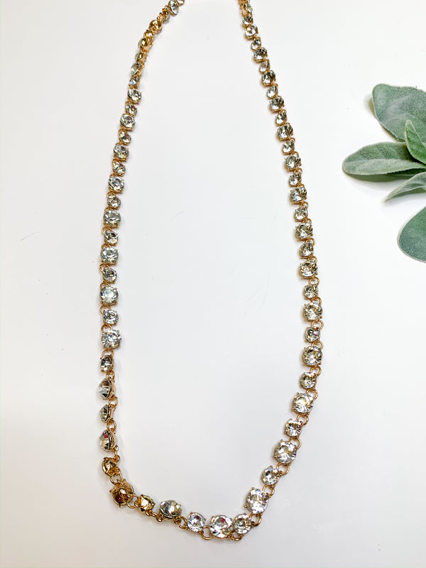 Link Necklace with Round Clear Crystals in Gold