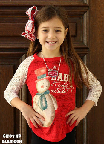Kids Baby It's Cold Outside Snowman Red Baseball Tee with Glitter Crochet Sleeves